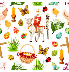easter seamless pattern paschal symbols vector image vector image