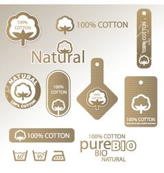 natural Cotton labels vector image vector image