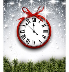 New year clock with starry background vector image