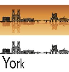 York skyline in orange background vector image vector image