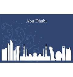 Abu dhabi city skyline on blue background vector