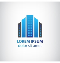 blue vertical abstract office building logo vector image