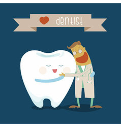 Dentist and tooth hug each other vector image