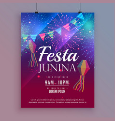 festa junina flyer design with fireworks vector image vector image