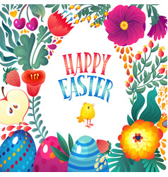 happy easter greeting card little chicken and vector image vector image