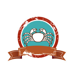 old background circular border with crab and label vector image vector image
