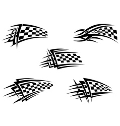 Set of checker racing flags vector image