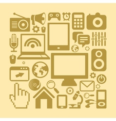 set of technology icons in retro style vector image vector image