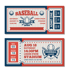 tickets design template at baseball tournament vector image vector image