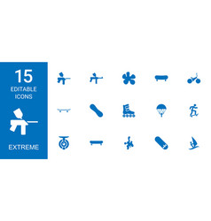 15 extreme icons vector image