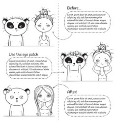 3 steps make-up monochrome instruction girl and vector image