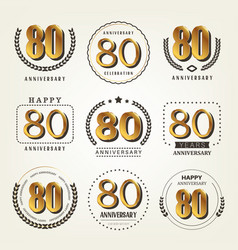 80 years anniversary logo set vector