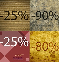 90 25 80 icon Set of percent discount on abstract vector
