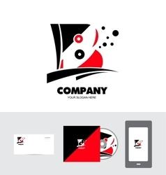 Alphabet letter b red black logo vector