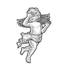 Angel facepalm gesture sketch vector