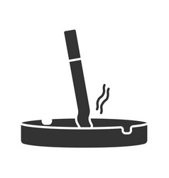 Ashtray with stubbed out cigarette glyph icon vector