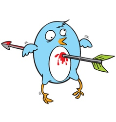 Attacked flying blue bird vector image