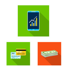 Bank and money icon set of vector