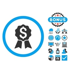 Banking Award Flat Icon with Bonus vector image