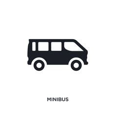 Black minibus isolated icon simple element from vector
