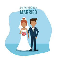 blue background poster of we are getting married vector image