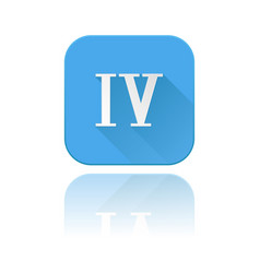 Blue icon with iv roman numeral with reflection vector