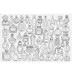 Bottles with perfume doodle set vector
