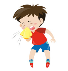 Boy in red shirt sneezing vector