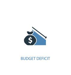 Budget deficit concept 2 colored icon simple blue vector