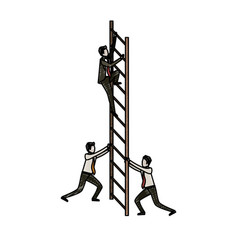 business men climbing wooden stairs in pencils vector image