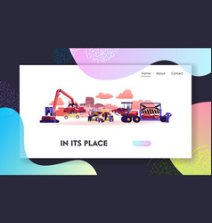 Car dump landing page template crane grabbing old vector