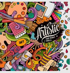 cartoon doodles art card artistic funny vector image
