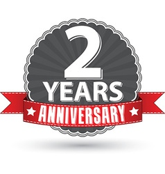 Celebrating 2 years anniversary retro label vector