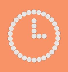 Clock background of pills vector