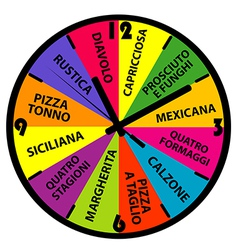 Clock with different pizza names vector