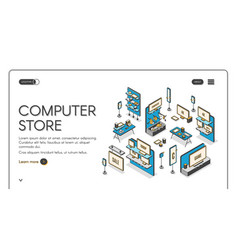 Computer store isometric landing page empty mall vector