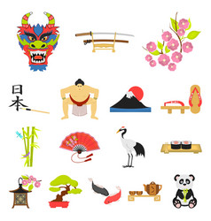 country japan cartoon icons in set collection for vector image