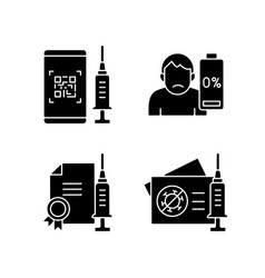 covid19 vaccine quality black glyph icons set vector image