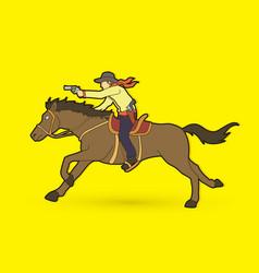 cowboy riding horseaiming gun graphic vector image