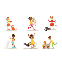 cute kids playing and taking care cats set vector image