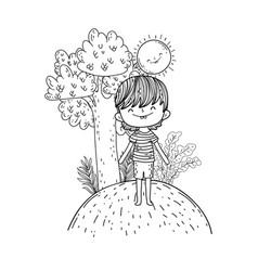 cute little boy with sun kawaii in the landscape vector image