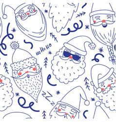 cute santa clauses seamless pattern vector image