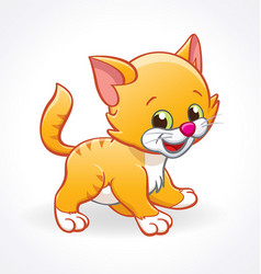 Cute smiling cartoon kitten cat standing vector