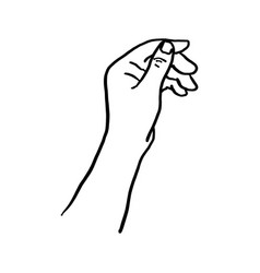 doodle hand holding something vector image