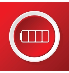 Empty battery icon on red vector