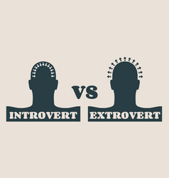 Extrovert and introvert metaphor vector