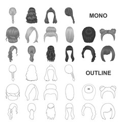 female hairstyle monochrom icons in set collection vector image