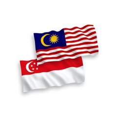 Flags malaysia and singapore on a white vector