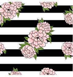 Floral pattern of pink peonies with leaves on a vector