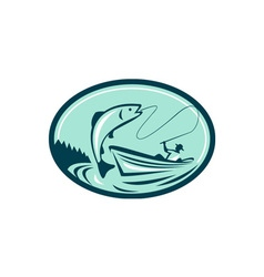 Fly Fisherman Boat Reeling Trout Retro vector image